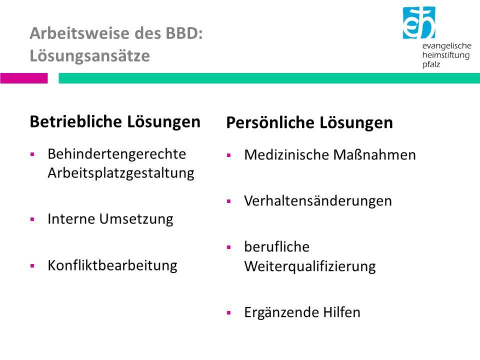 Arbeitsweise des BBD: Lösungsansätze