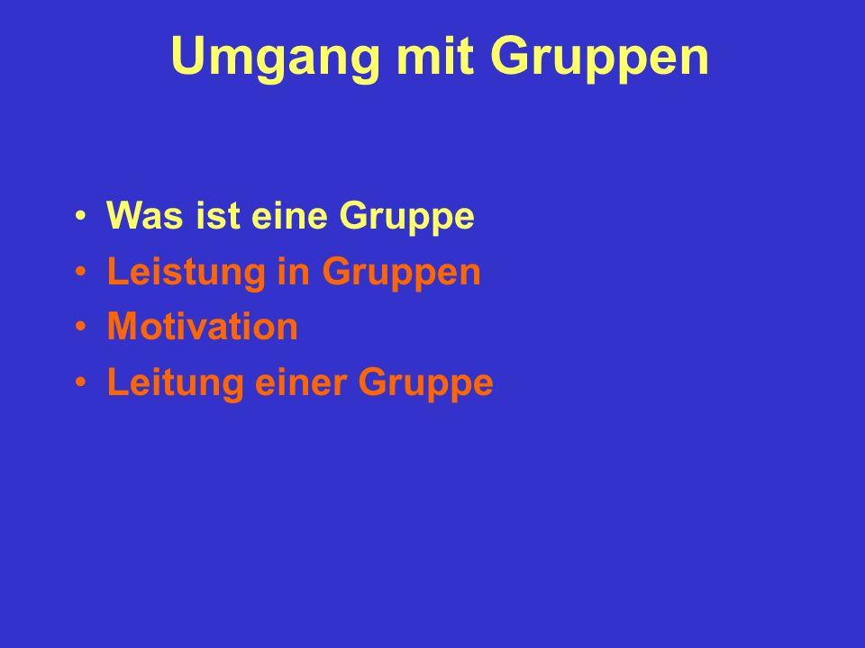 Umgang mit Gruppen Was ist eine Gruppe Leistung in Gruppen Motivation