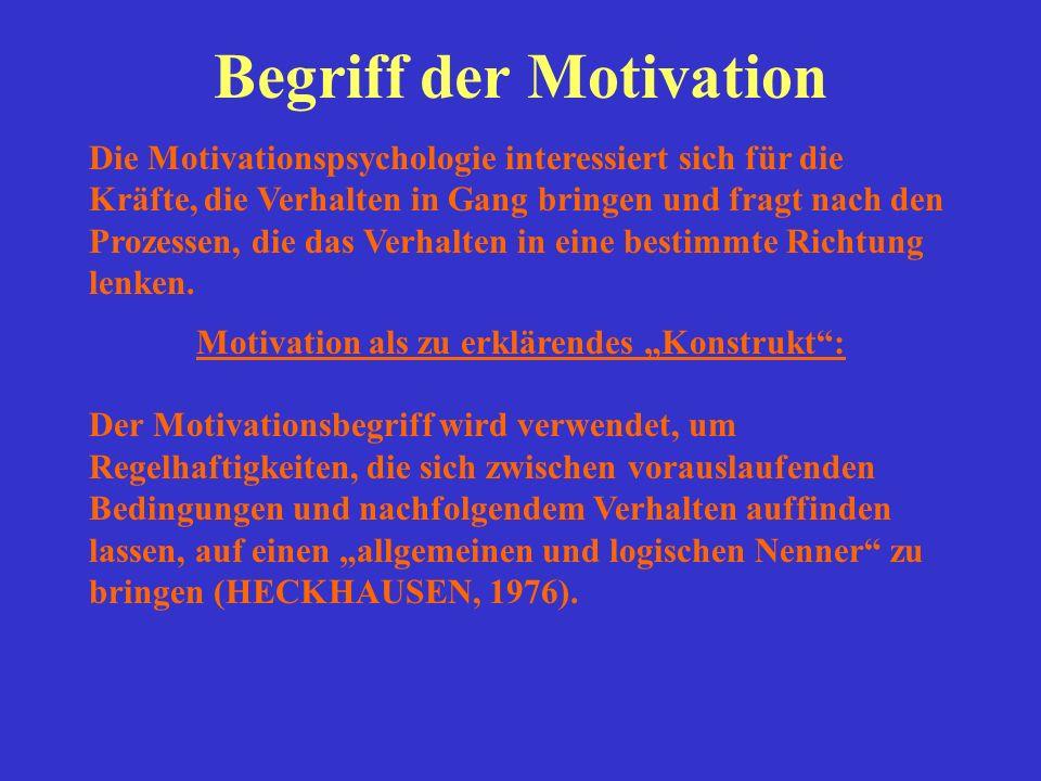 """Begriff der Motivation Motivation als zu erklärendes """"Konstrukt :"""