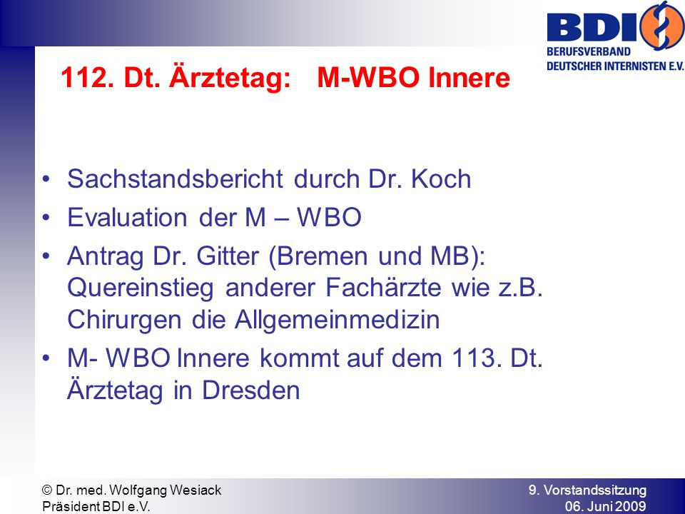 112. Dt. Ärztetag: M-WBO Innere