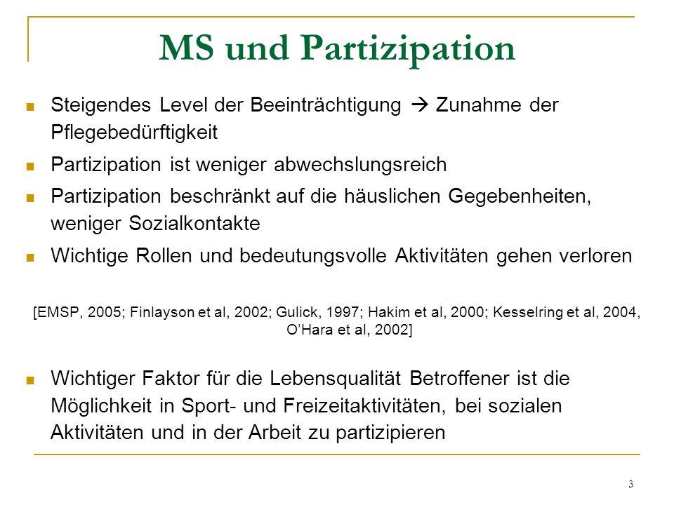 MS und Partizipation Steigendes Level der Beeinträchtigung  Zunahme der Pflegebedürftigkeit. Partizipation ist weniger abwechslungsreich.