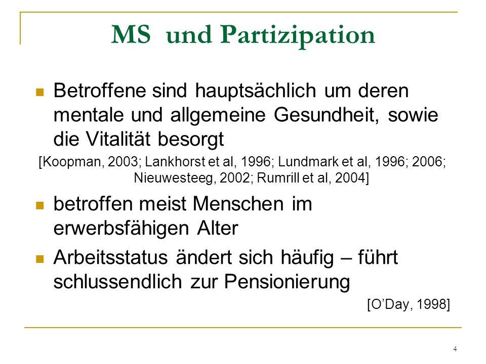 MS und PartizipationBetroffene sind hauptsächlich um deren mentale und allgemeine Gesundheit, sowie die Vitalität besorgt.