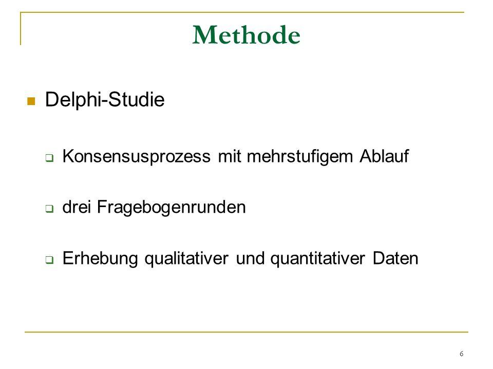 Methode Delphi-Studie Konsensusprozess mit mehrstufigem Ablauf