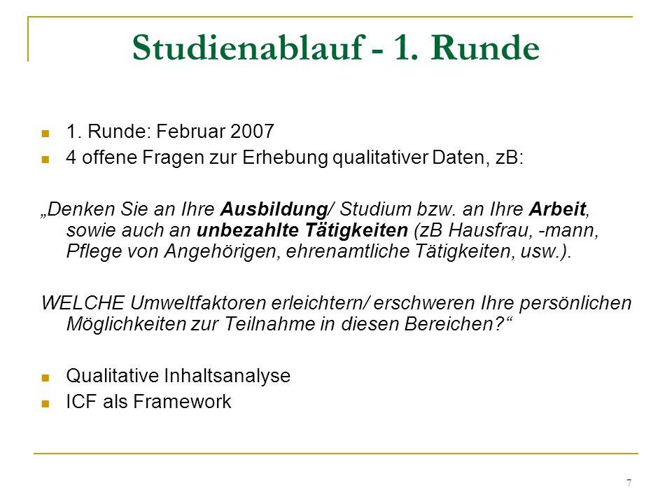 Studienablauf - 1. Runde 1. Runde: Februar 2007