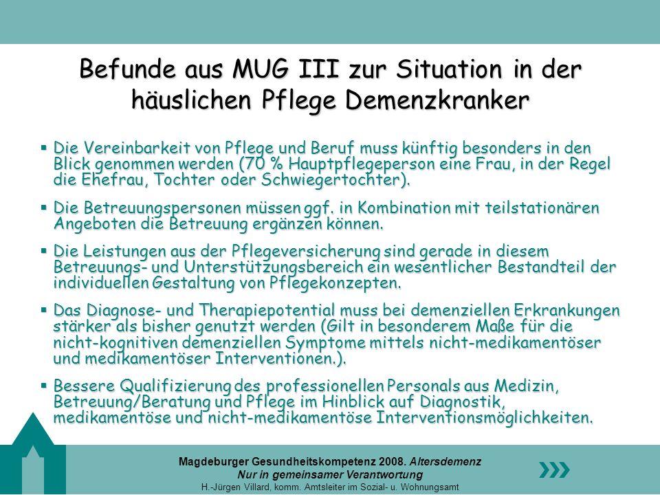 Befunde aus MUG III zur Situation in der häuslichen Pflege Demenzkranker