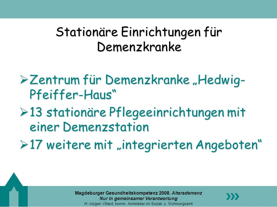 Stationäre Einrichtungen für Demenzkranke