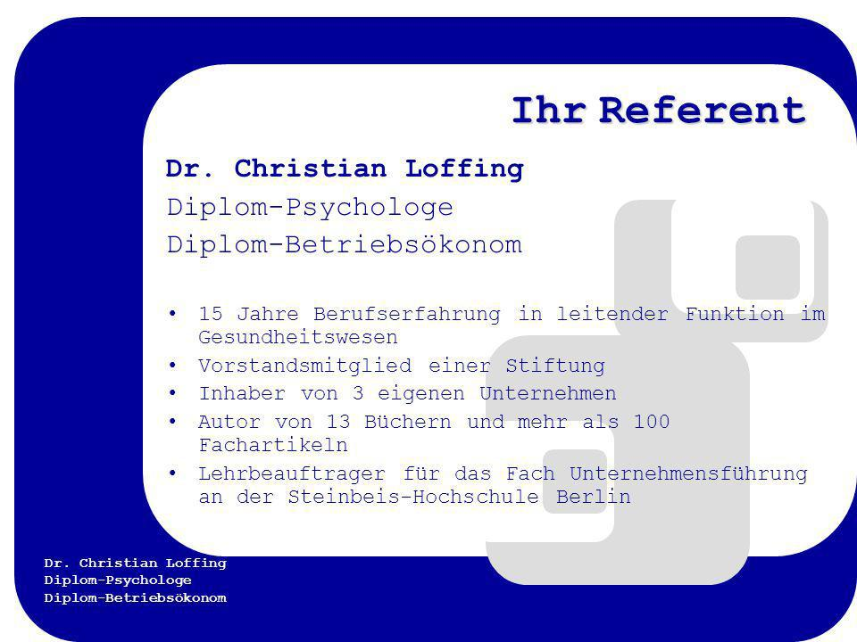 Ihr Referent Dr. Christian Loffing Diplom-Psychologe