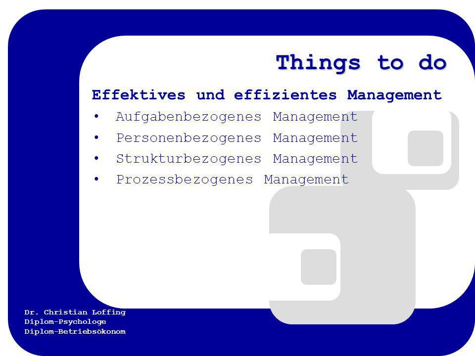 Things to do Effektives und effizientes Management