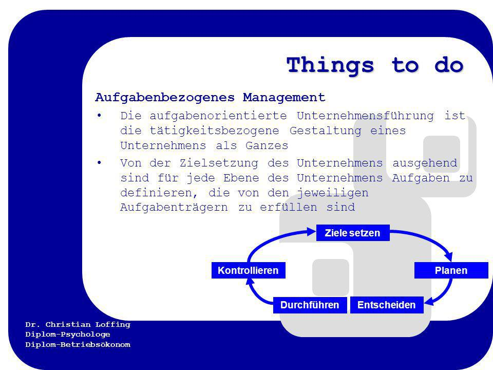 Things to do Aufgabenbezogenes Management