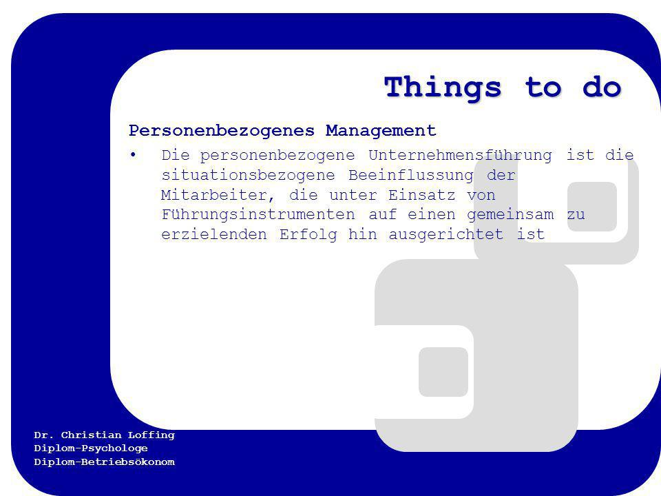 Things to do Personenbezogenes Management