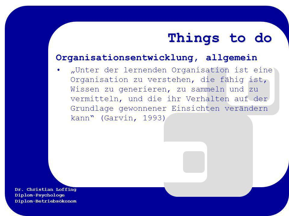 Things to do Organisationsentwicklung, allgemein