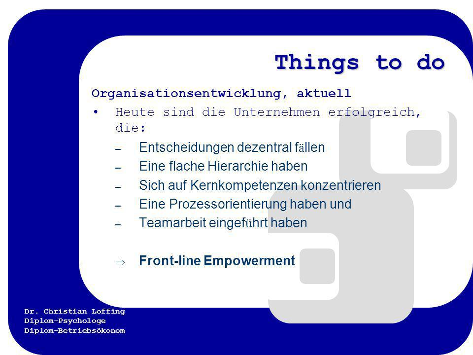 Things to do Organisationsentwicklung, aktuell