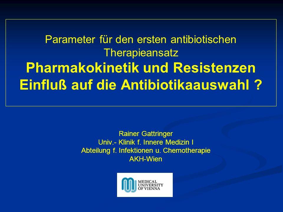 Parameter für den ersten antibiotischen Therapieansatz Pharmakokinetik und Resistenzen Einfluß auf die Antibiotikaauswahl