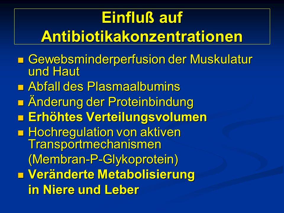 Einfluß auf Antibiotikakonzentrationen