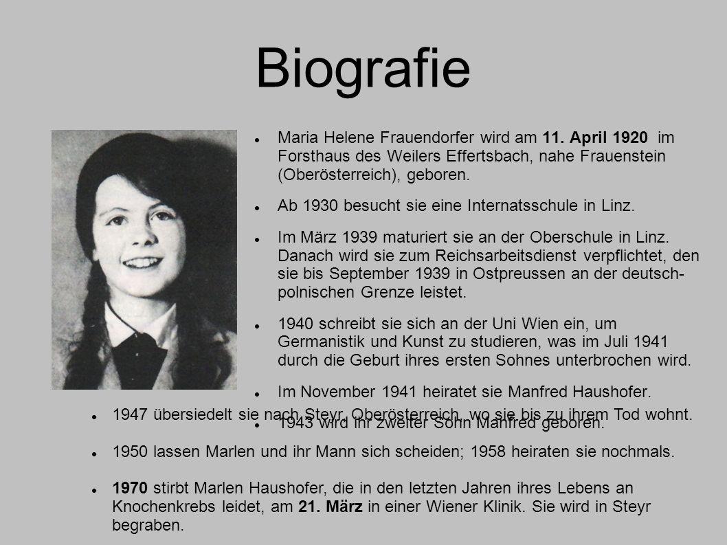 Biografie Maria Helene Frauendorfer wird am 11. April 1920 im Forsthaus des Weilers Effertsbach, nahe Frauenstein (Oberösterreich), geboren.