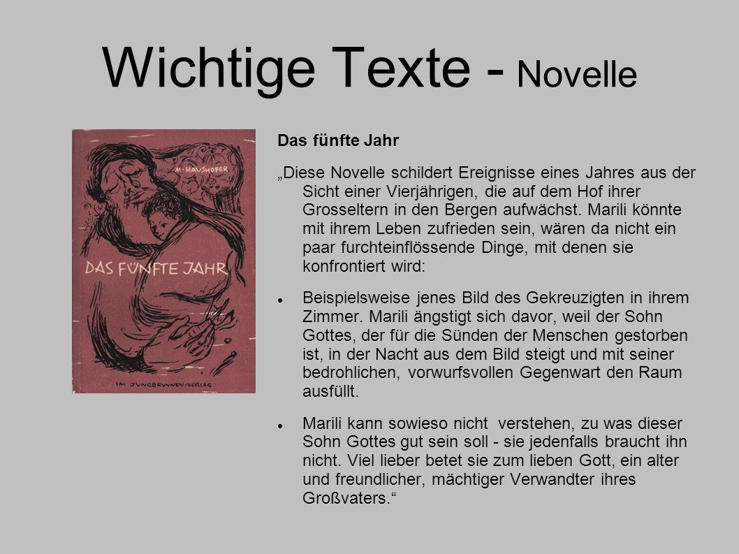 Wichtige Texte - Novelle