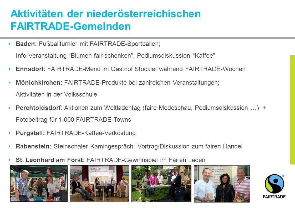 Aktivitäten der niederösterreichischen FAIRTRADE-Gemeinden