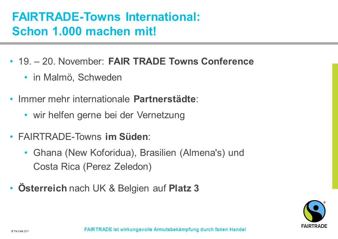 FAIRTRADE-Towns International: Schon 1.000 machen mit!