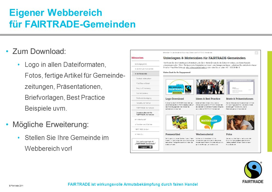 Eigener Webbereich für FAIRTRADE-Gemeinden