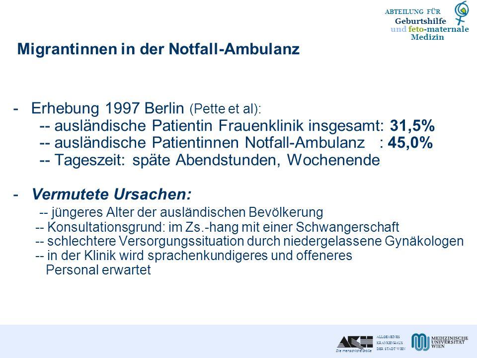 Migrantinnen in der Notfall-Ambulanz