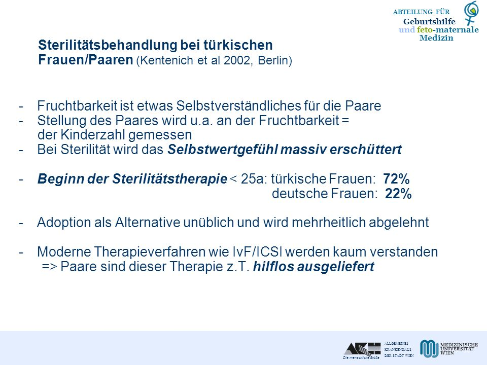 Sterilitätsbehandlung bei türkischen Frauen/Paaren (Kentenich et al 2002, Berlin)