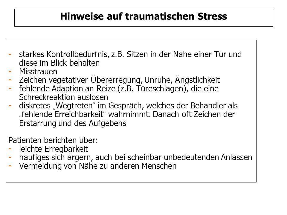 Hinweise auf traumatischen Stress