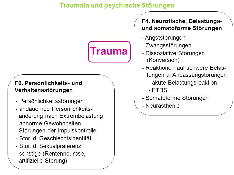 Trauma Traumata und psychische Störungen F4. Neurotische, Belastungs-