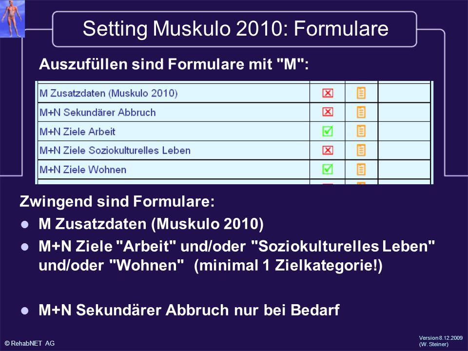 Setting Muskulo 2010: Formulare