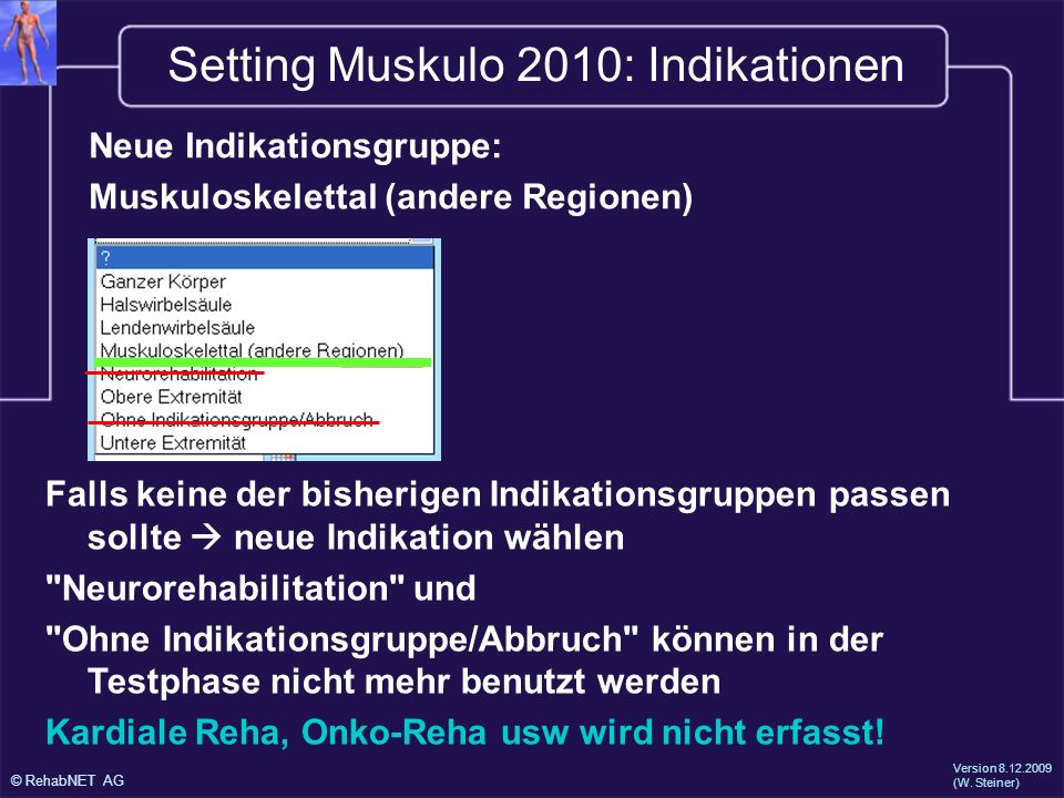 Setting Muskulo 2010: Indikationen