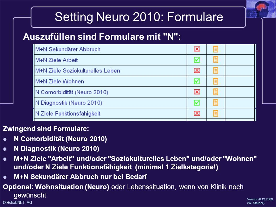 Setting Neuro 2010: Formulare