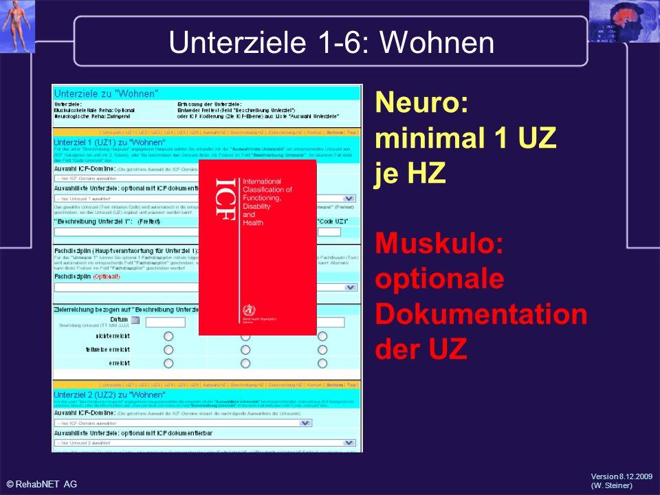 Unterziele 1-6: Wohnen Neuro: minimal 1 UZ je HZ Muskulo: