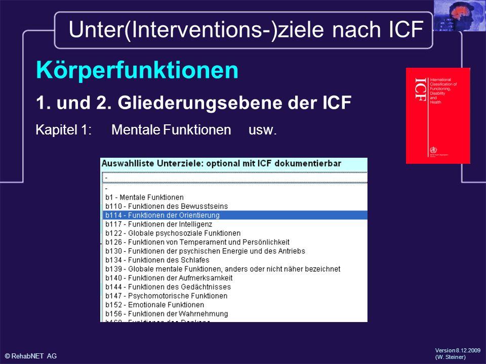 Unter(Interventions-)ziele nach ICF
