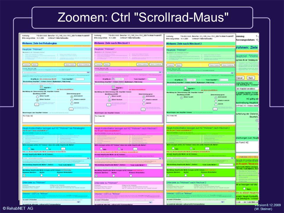 Zoomen: Ctrl Scrollrad-Maus