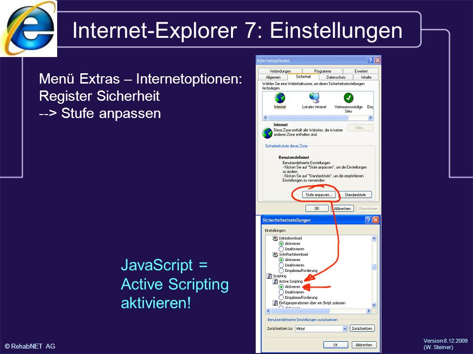 Internet-Explorer 7: Einstellungen