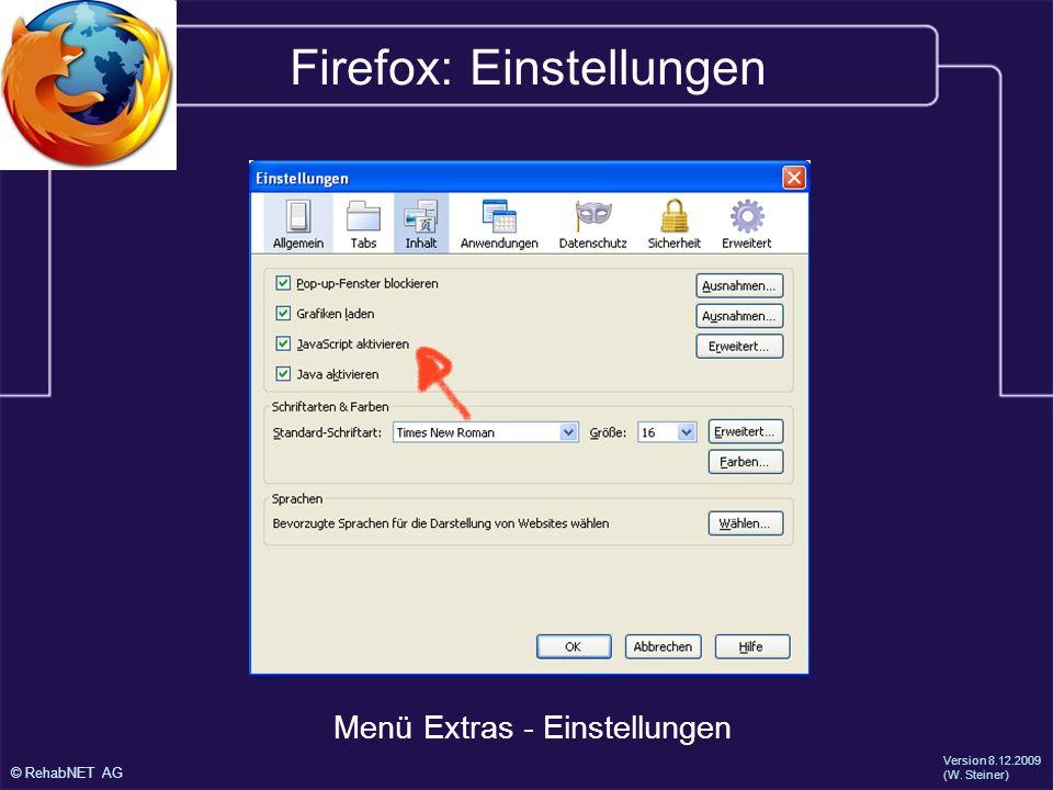 Firefox: Einstellungen