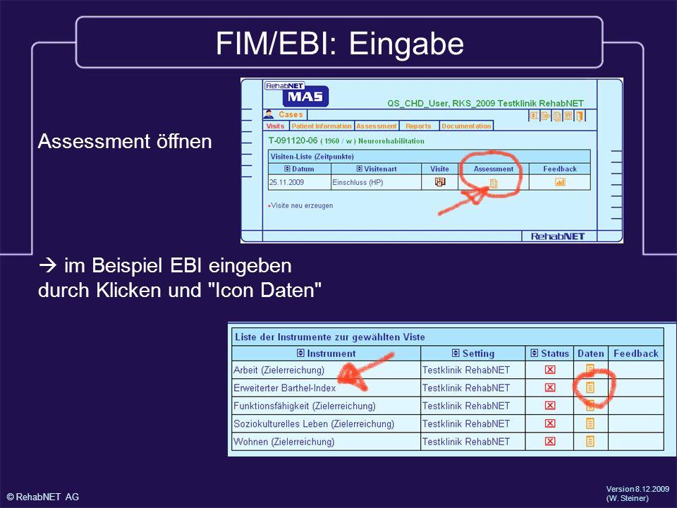 FIM/EBI: Eingabe Assessment öffnen