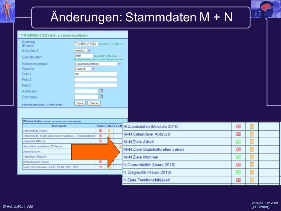 Änderungen: Stammdaten M + N