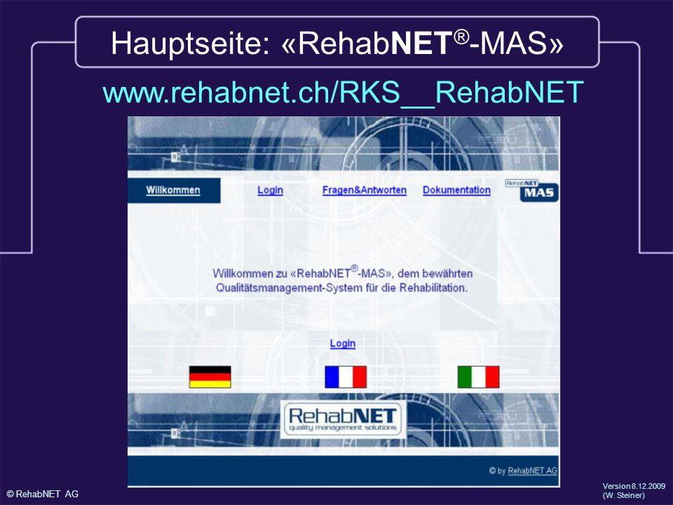 Hauptseite: «RehabNET®-MAS»