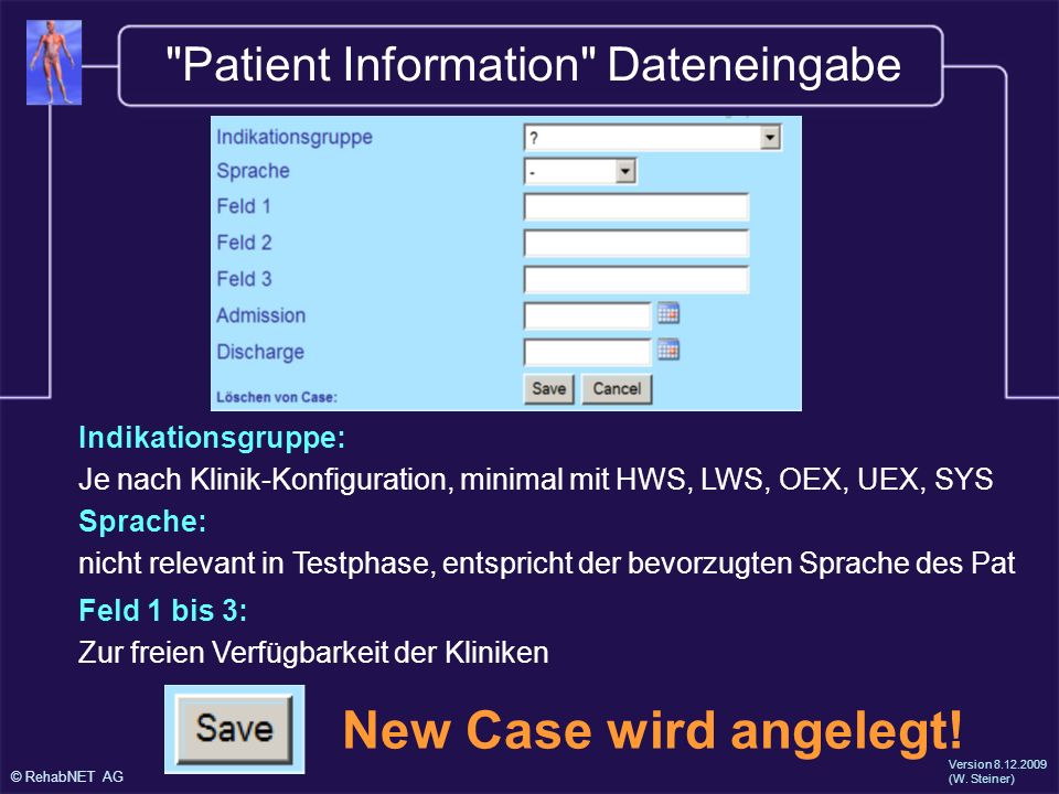 Patient Information Dateneingabe