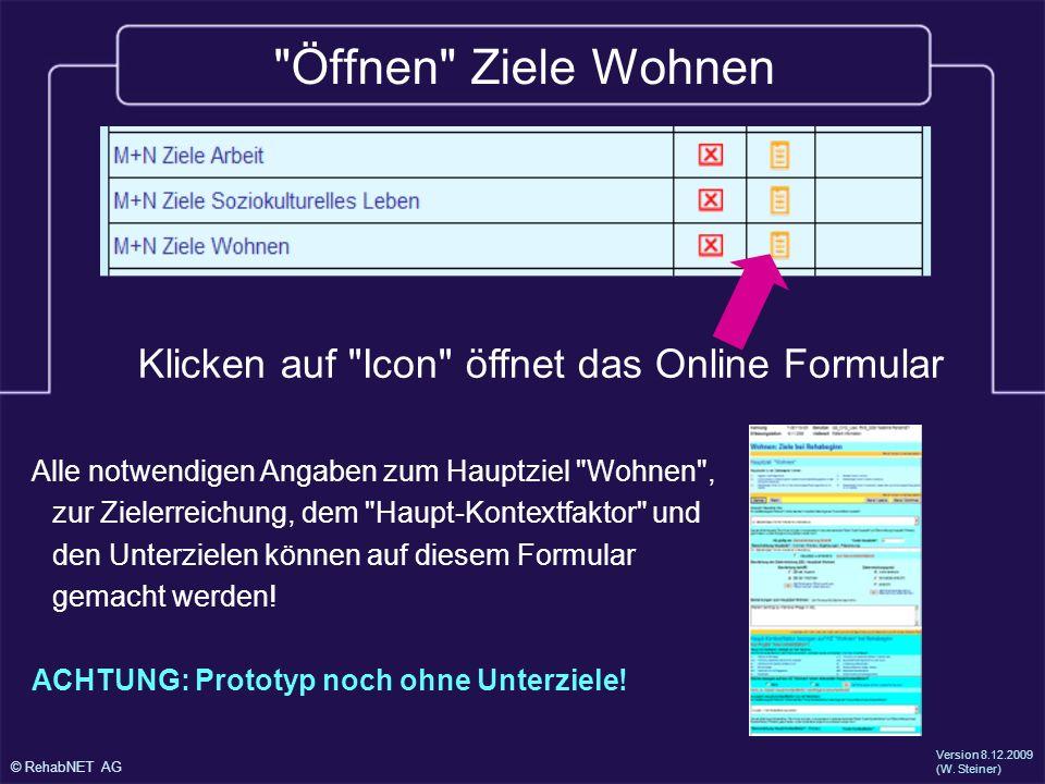 Öffnen Ziele Wohnen Klicken auf Icon öffnet das Online Formular