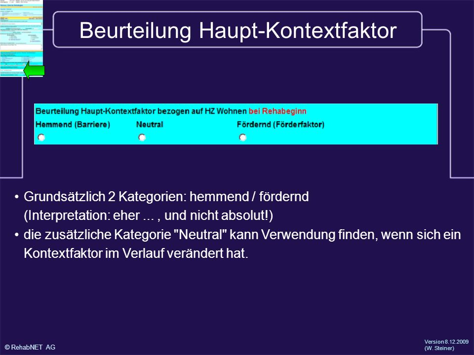 Beurteilung Haupt-Kontextfaktor