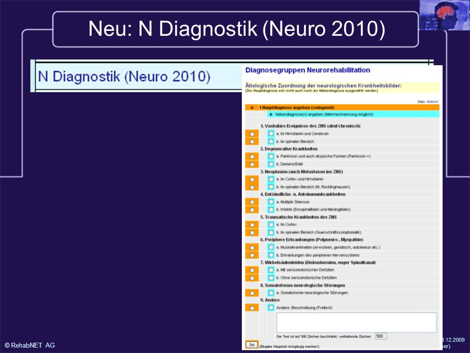 Neu: N Diagnostik (Neuro 2010)
