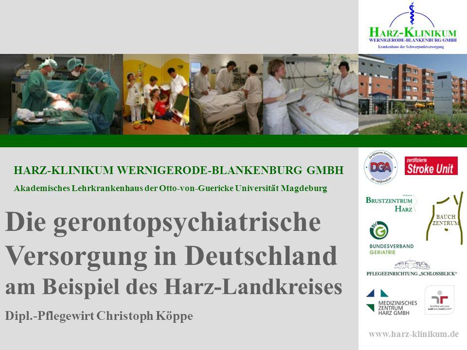 Die gerontopsychiatrische Versorgung in Deutschland am Beispiel des Harz-Landkreises