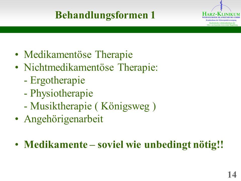 Medikamentöse Therapie Nichtmedikamentöse Therapie: - Ergotherapie