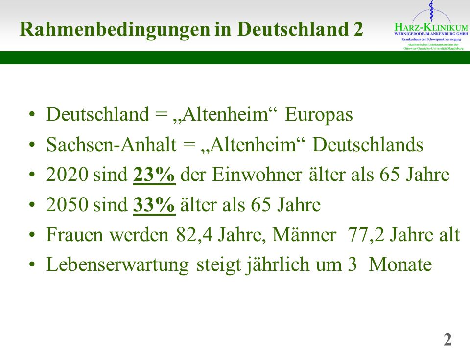 Rahmenbedingungen in Deutschland 2