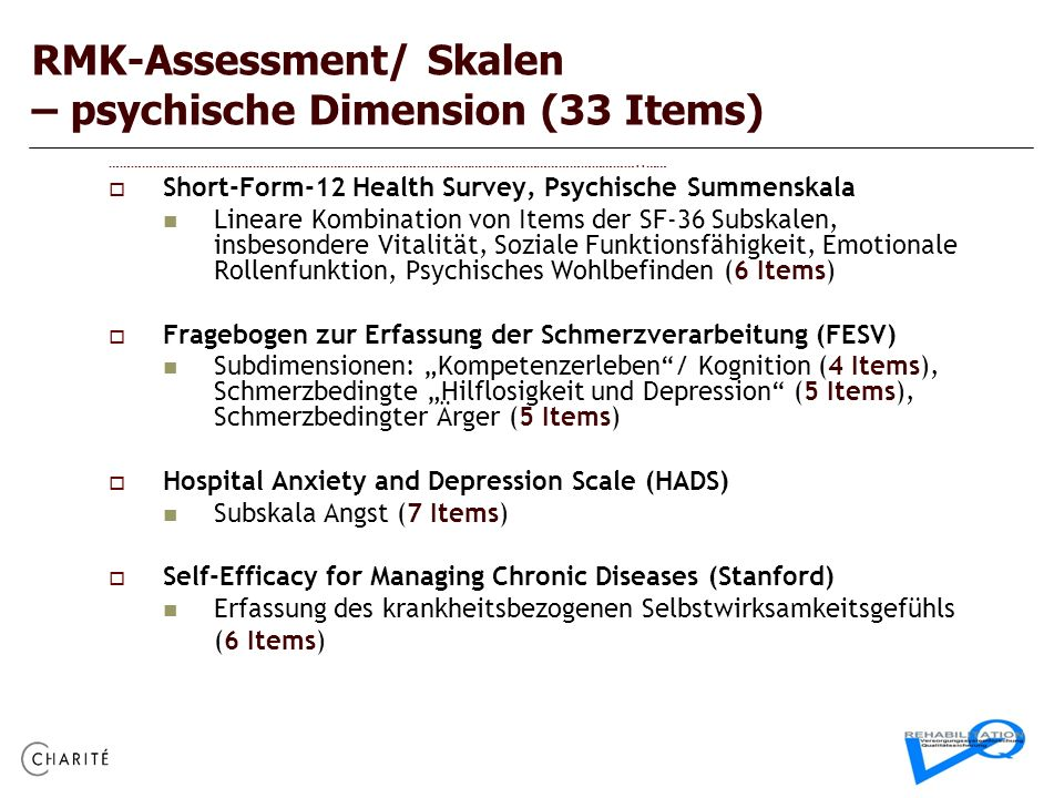 RMK-Assessment/ Skalen – psychische Dimension (33 Items)