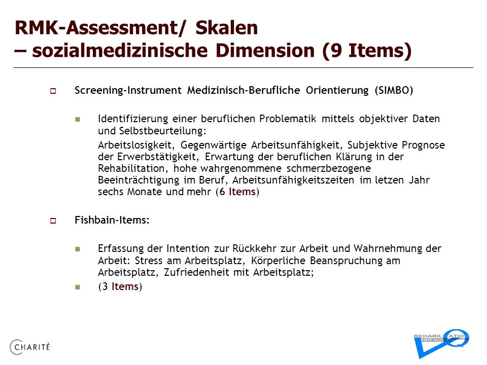 RMK-Assessment/ Skalen – sozialmedizinische Dimension (9 Items)