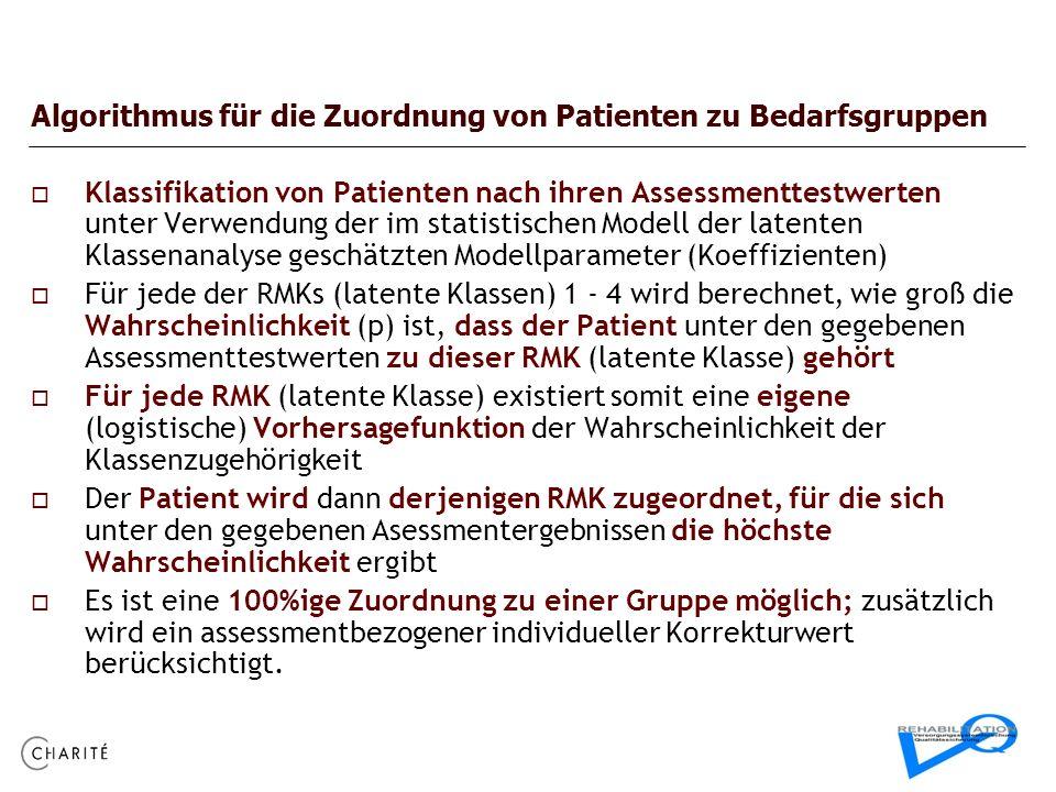 Algorithmus für die Zuordnung von Patienten zu Bedarfsgruppen