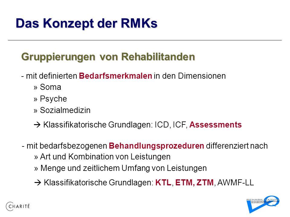 Das Konzept der RMKs Gruppierungen von Rehabilitanden