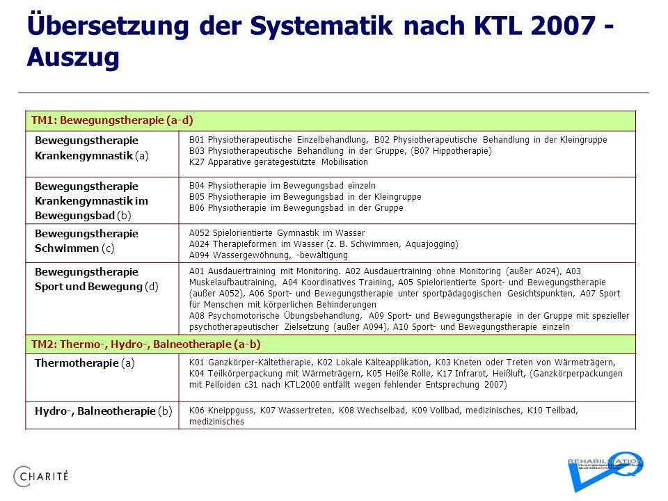 Übersetzung der Systematik nach KTL 2007 - Auszug